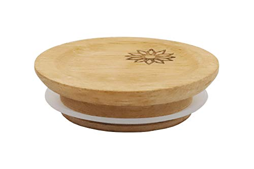 Acacia Wooden Lid for Weck and/or Oui Jars, (1 Piece), (w/Flower Etching)