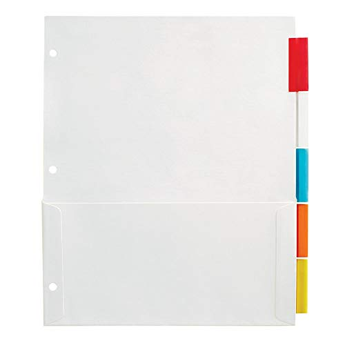 Office Depot Insertable Pocket Dividers with Tabs, 9 1/8in. x 11 1/4in, Assorted Colors, 5-Tab, OD409374