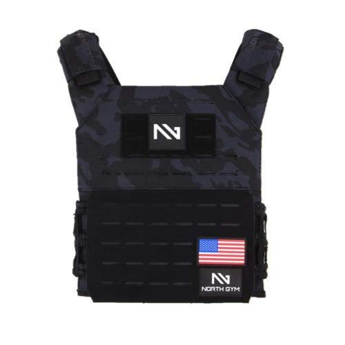 Northgym Adjustable Fitted 20lbs Weighted Vest for Men and Women/Perfect for Endurance & Strength Training and WODs in Black Camo / 2 Moulded 8.75lbs Weight Plates Included