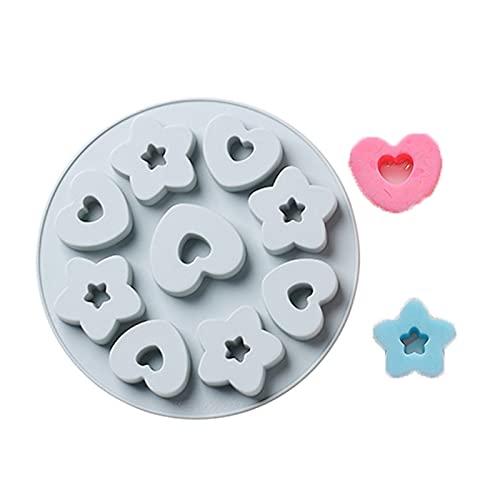 9 hoyos 3D Diamond Love Heart Star 2 formas Molde de silicona para hornear pasteles Fondant Herramientas de decoración de modelado de pasteles Diy Moldes de mousse de chocolate moldes de chocolate