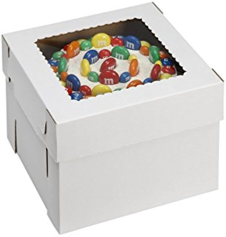 W PACKAGING WPCKB108 10x10x8 White Kraft Plain 8  Deep Cake Box W Window, E-Flute (Pack of 25)