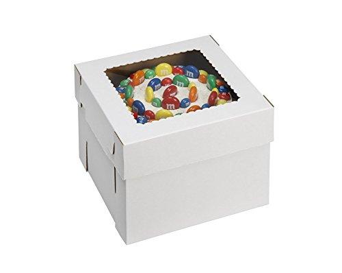 "W PACKAGING WPCKB108 10x10x8 White/Kraft Plain 8"" Deep Cake Box W/Window, E-Flute (Pack of 25)"