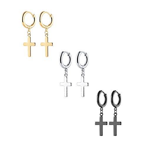 VU100 3 Paia Orecchini Croce Orecchini Uomo Donna Gioielli in acciaio inossidabile con Ciondolo Croce, Nero/Oro/Argento