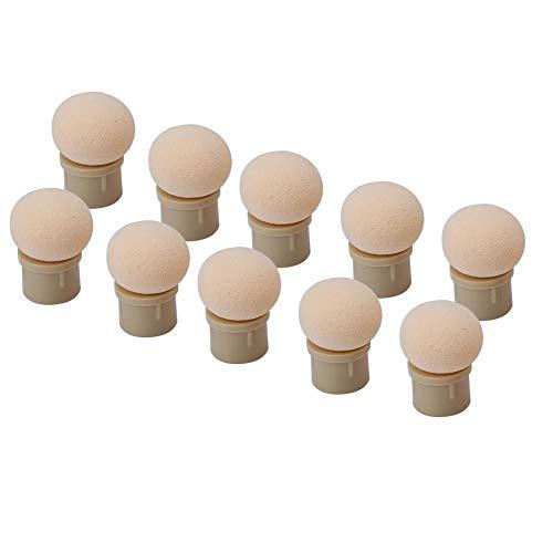 Qkiss 2 types 10 stuks verwisselbare sponskop voor glitter poeder dotting pen penseel nail art tool Rond uiteinde.