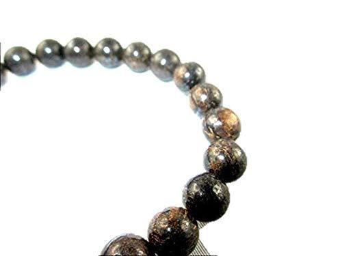 "HiJet Beautiful Bronzite Round Bead Stretch Bracelet 8"" Long Balancing Positive Energy Harmony Luck Natural Genuine Authentic Fashion Style"