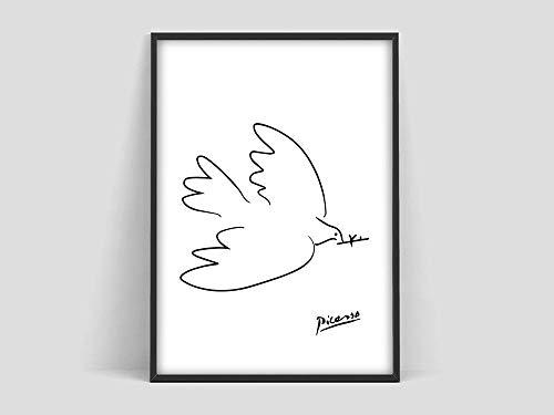 Póster de la paloma de Pablo Picasso, dibujo de la paloma de Picasso, patrón de perro Picasso, arte minimalista, blanco y negro, galería de arte, pintura decorativa sin marco para el hogar, D 70x100cm