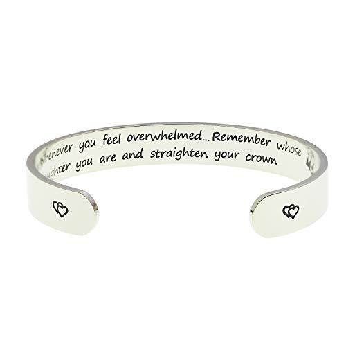 """LParkin inspirationales Geschenk für Damen, mit englischer Aufschrift """"Whenever You Feel Overwhelmed Remember Whose Daughter You Are ..."""", 1 x 15 cm Größe, aus poliertem Edelstahl"""