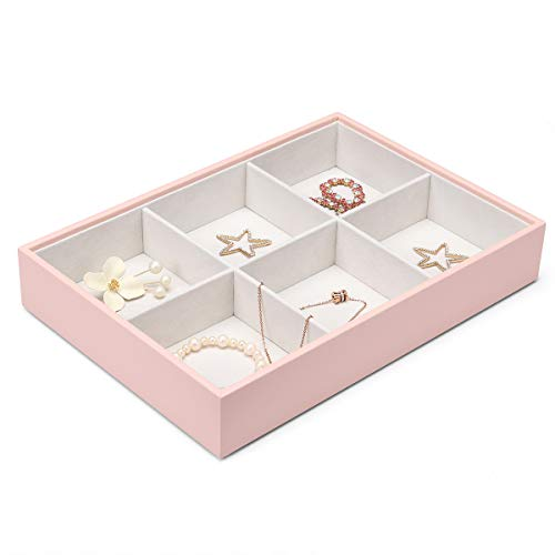 Vlando Miller Jewelry Tray-Six compartment,Multiple Color Combinations, Large Capacity Multi-Layer Design and Fashion(Pink)