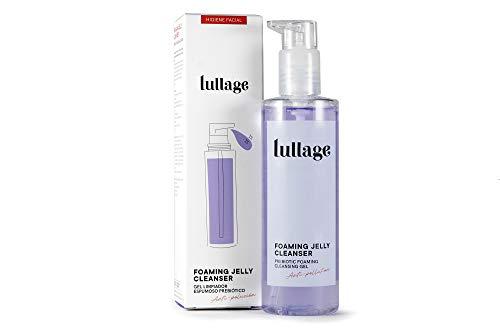 LULLAGE Gel Limpiador Facial Espumoso y Prebiótico Piel Mixta - Grasa, 200 ml | Tratamiento facial VEGANO y natural | Jabón purificante que Combate la Polución en la Piel, Foaming Jelly Cleanser
