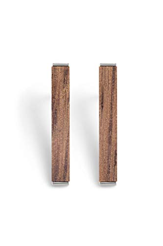 KERBHOLZ Holzschmuck – Geometrics Collection Rectangle Earring, Damen Ohrring geometrisch, kleine Ohrstecker mit Rechteck aus Naturholz, silber (20 x 3mm)