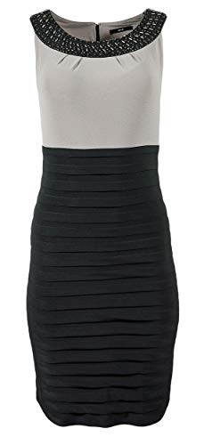 Zero Damen Kleid Stretchkleid mit Perlenkragen ohne Ärmel, Größe:44