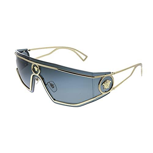 Versace VE 2226 100287 Gold Metal Shield Gafas de sol gris lente