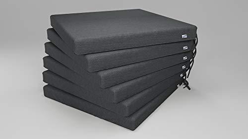 Rollmayer 6er Set Stuhlkissen wasserdicht und regenfest Stuhlauflage Sitzkissen Sitzpolster Auflage für Stühle in Haus und Garten Kollektion Velvet (Grafit 219, 40x40x4cm)