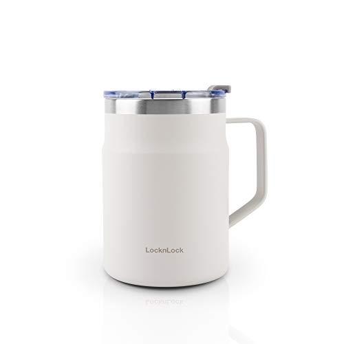 LOCK & LOCK Metro Mug - Vaso térmico para café, té y otras bebidas calientes y frías, con tapa, 475 ml, color blanco