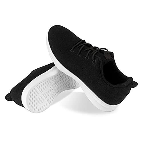 Kaulfus Merino Sneaker - Wollschuhe aus hochwertiger Merino Wolle, sportlich und atmungsaktiv, nachhaltig und Handmade (Schwarz, Numeric_39)