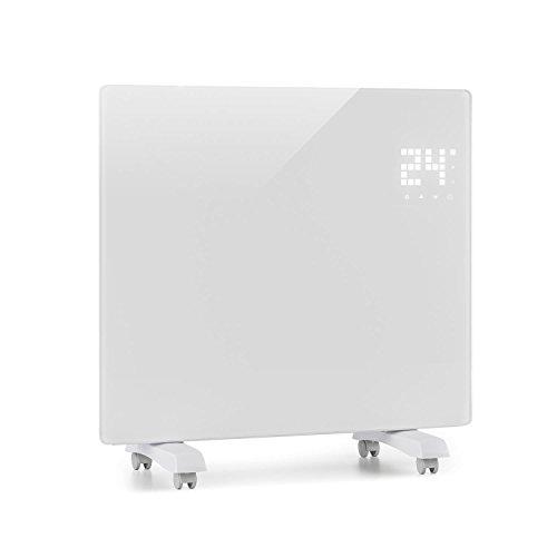 Klarstein Bornholm Single - Riscaldatore a Convezione, Riscaldamento elettrico, Pannello piatto, 1000 watt, ECO, Protezione IP24, Protezione surriscaldamento, Protezione per i bambini, Bianco