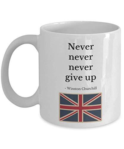 Lawenp ¡Taza de Winston Churchill! - Cita famosa 'Nunca, nunca, nunca te rindas' 11 oz