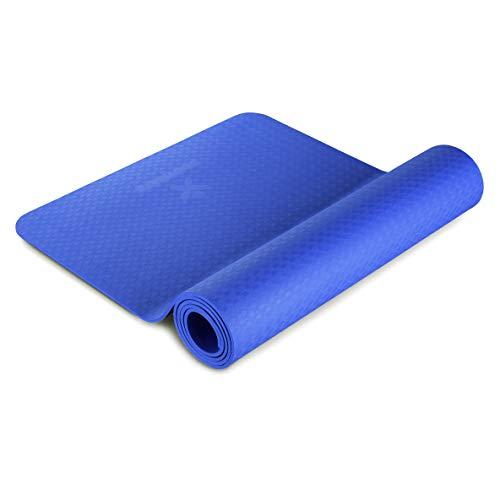 BODYMATE Yogamatte Premium TPE Blau - Größe 183x61cm – Dicke 6mm – Schadstoffgeprüft frei von Phthalaten, BPA, Schwermetallen – Trainings-Matte für Fitness, Yoga, Pilates, Functional