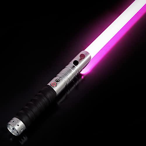 CVCBSER FX Dueling Lightsaber RGB 12 Colors Changeable Premium Aluminium Alloy Hilt Light Saber with 9 Mode Sound Force Lightsaber Toys (Silver)