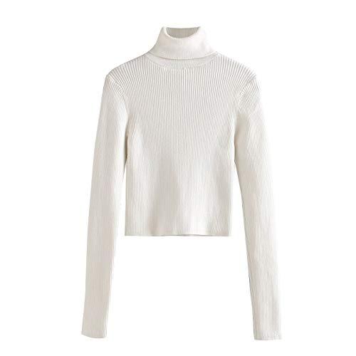 QMGLBG Mujeres Vintage Elegante Ropa de Oficina suéter de Punto Recortado sólido Moda Cuello Alto Estiramiento Delgado Jerseys Femeninos Tops Elegantes
