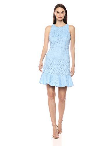 NINE WEST Women's Sleeveless Dress with Ruffle Hem, Sky, 8 (Apparel)