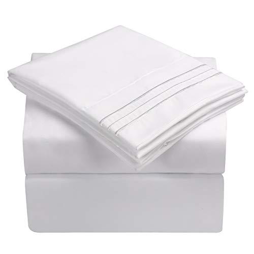 "HooSeen Bed Sheets Set - 4-Pieces Hotel Luxury Bed Sheets 1800 TC Brushed Microfiber, 16"" Deep Pocket, Breathable, Wrinkle Resistant & Unfading, Hypoallergenic Bedding Set (King, Grey)"