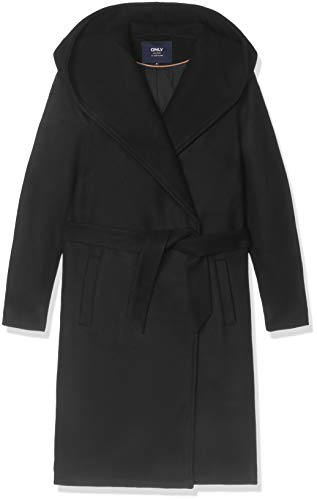 ONLY Damen Onlriley Wool Coat Cc OTW Mantel, Schwarz (Black Black), Large (Herstellergröße:L)