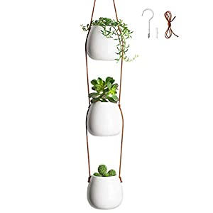 Blume Bae Home 3-Tier Ceramic Hanging Planter for Indoor & Outdoor Plants – Modern Flower Pots Succulent Decor Basket Wall Planters for Apartments, Balcony, Ceiling Live or Faux Plants, Kitchen Herbs