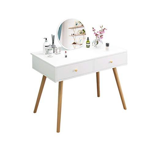 Eik Dressing Tafel met Spiegel Make-up Vanity Tafel Slaapkamer Dressoir Set met(80x40x75cm) HAODAMAI