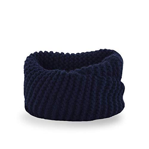 PaMaMi Kinder Mädchen Loop-Schal in grober Strick-Optik 88 cm lang | Marineblau | 85% Acryl, 15% Polyamid | Alter 3-7 Jahre | Flauschig und sehr warm