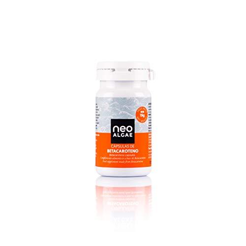 Betacaroteno en Cápsulas | Natural Acelera el Bronceado | Antioxidante y Mejora de la Visión | Procedente de Microalgas Asimilación | Fabricado y Envasado en España | 60 Cápsulas | Neoalgae