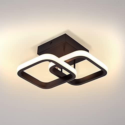 Temgin Lamparas de Techo Habitacion 20 W/3000 K Negra Plafon de Techo Luz Blanca Cálida Lampara LED Techo Aluminio para Salon Cocina Dormitorio Comedor Pórtico