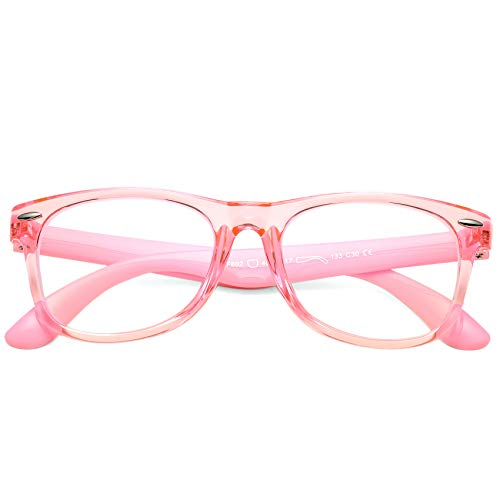 COASION Kids Blue Light Blocking Glasses TPEE Rubber Flexible Soft Computer Eyeglasses Frames for Children Age 3-9(Clear Pink)