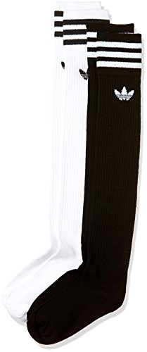 adidas Damen Solid Knee Socken, White/Black, 39-42