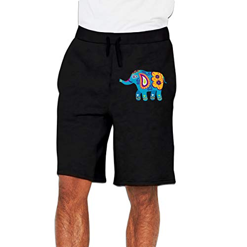 Elephant Mosaic Art Mens Sweatpants Jogger Shorts Trousers(3X-Large,Black)
