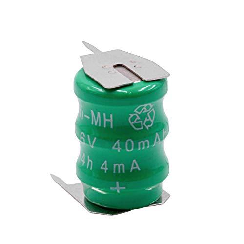 vhbw Knopfzellen Akku Typ V40H (NiMH, 40mAh, 3.6V) - Säule mit 3 Zellen, 3 Pins Printanschluss, wiederaufladbar