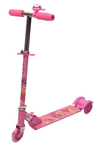 Toyhouse Three Wheeled Height Adjustable Scooter with Disco Wheel and Anti Slip...