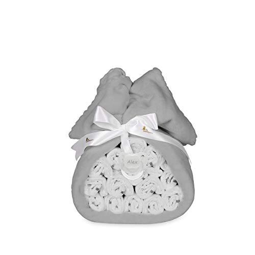 BebeDeParis | Tarta de 15 Pañales con Mantita Polar y Chupete Personalizado | Talla 2 | 3-6 Meses (Gris)