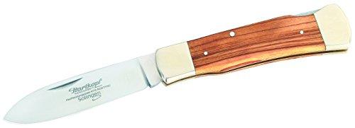 Hartkopf-Solingen Erwachsene Taschenmesser, Stahl 1.4110, Olivenholz, Neusilber, Mehrfarbig, One Size