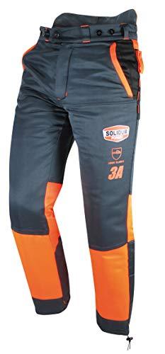 Solidur AUPA3A-L PANTALON AUTHENTIC Klasse 3 Typ A, Kettensägenschutz/Schnittschutzhose, Orange/Grau, Größe L