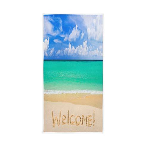 PIXIUXIU - Toallas de mano de secado rápido, toalla de playa con cita de bienvenida, toallas de cara absorbentes, suaves, gruesas, absorbentes, para uso diario, 76 x 15 pulgadas