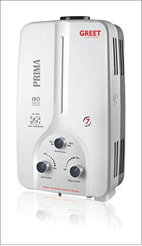 GREET GAS GEYSER PRIMA 7LTR HEAVY BODY-1KG COPPER KIT WITH INSTANT HEATING LPG 5 Way Protection, 20 MNT Timer (White)