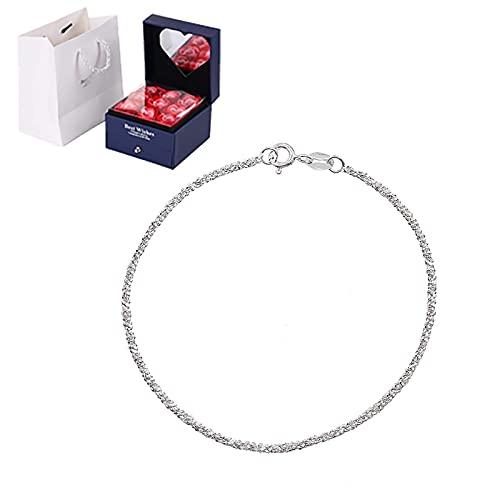 Pulsera para mujer Pulsera de Gypsophila de plata 925, Diseño simple Pulsera de moda, niña Cumpleaños de Navidad San Valentín Día de la madre con caja de regalo de joyería, Plata