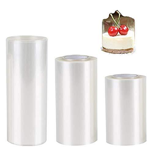 Rotoli trasparenti per torta, 3 rotoli di collari per torte e torte in acetato trasparente, rotoli di pellicola per torte con bordo circostante per cioccolato, mousse, decorazione di torte (3 misure)