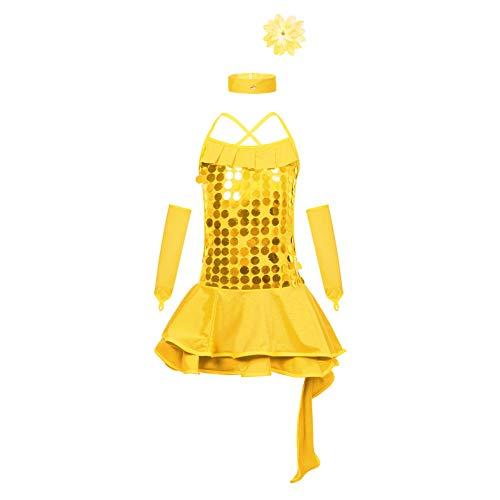 Freebily Vestito da Ballo Bambina Danza Classica con Paillettes Brillante 4 Pezzi Set Gonna + Maniche + Fascia + Collana Latino Jazz Salsa Tango Rumba Costumi di Danza Giallo 7-8 Anni