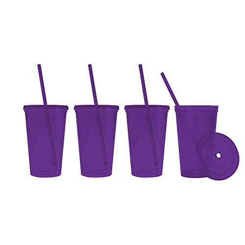 Made in the USA, 16 oz. Double Wall Insulated Plastic Tumblers with Lid and Straws, Set of 4 - Translucent Purple