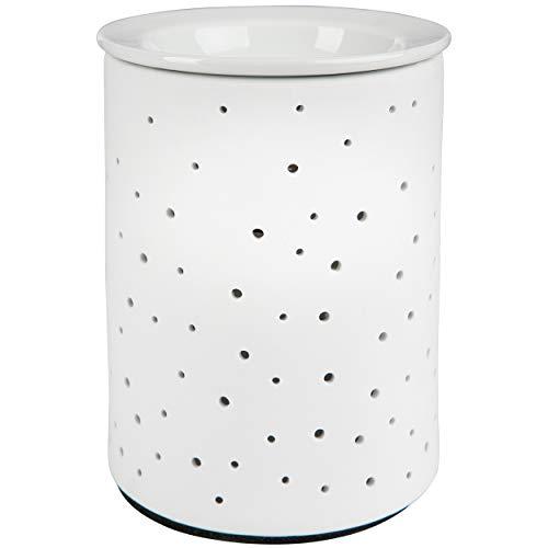 Heim & Büro Porzellan Duftlampe DOTS | 1 Stück | Elektrisch | Weiss | 15 cm | für die Steckdose | mit Birne | Aromalampe