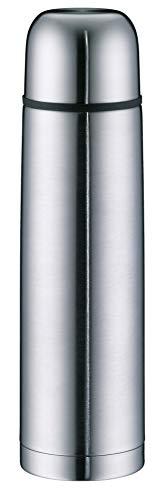 alfi Isolierflasche Edelstahl isoTherm Eco, Edelstahl mattiert 1L, Thermosflasche mit Trinkbecher 5457.205.100 dicht, Drehverschluss, Thermoskanne 12 Stunden heiß, 24 Stunden kalt, BPA-Free