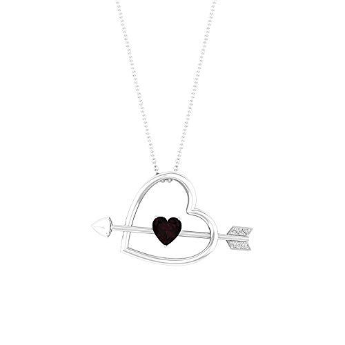 Colgante de corazón con flecha, piedras preciosas de 0,78 ct, diamante HI-SI, granate de 6 mm, colgante de amor, collar solitario de oro, regalo de San Valentín para ella, 14K Oro blanco Con cadena