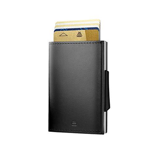 Ögon Design - Kartenetui Cascade Wallet - RFID Safe - Italienisches Leder und Aluminium - Schwarz (Alu : Silver)